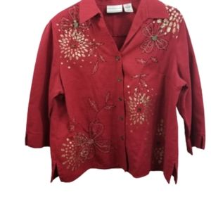 ALFRED DUNNER size 14P top button-down embroidered